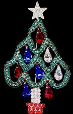 """PRONG SET BLUE RED PEAR RHINESTONE CHRISTMAS TREE PIN BROOCH JEWELRY 4"""" MOVABLE"""