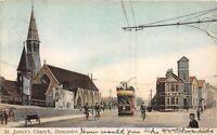 POSTCARD  YORKSHIRE -  DONCASTER - ST JAMES CHURCH - TRAM - CIRCA 1904