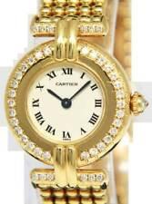 Cartier Vendome 18k Yellow Gold & Diamond Ladies 24mm Quartz Watch with Box