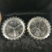 Pair of Vintage Clear Glass Divided Relish Nut Dishes
