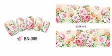 NAIL Art Water Trasferimenti Adesivi Decalcomanie WRAPS Shabby Chic fiori floreale bn65