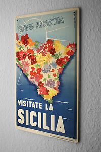 Tin Sign World Trip  Sicily Island Flowers Decorative Wall Plate