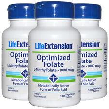 Optimized Folate L-Methylfolate 1000 mcg - 3X100 Veg Tabs Life Extension