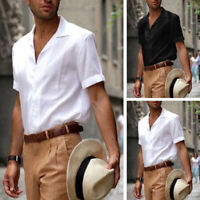 US Men's Short Sleeve Button Down Shirts Casual Formal Loose Dress Soft Tops Tee