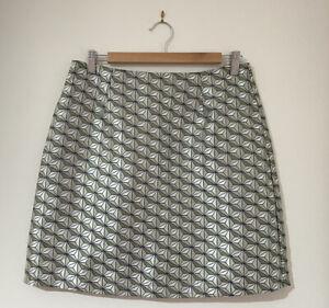Revival Dangerfield Mini Skirt Size 12 Green Geometric Shiny Pockets Straight