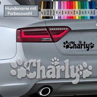 Hundeaufkleber / Farbauswahl mit Name Pfote Hund im Auto Aufkleber Sticker decal