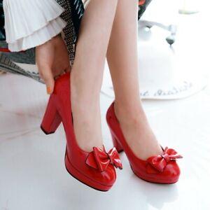 Ladies Lolita Pumps Slip on Block Heels Platform Mary Jane Bowtie Womens Shoes