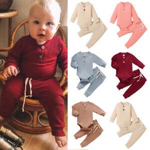 Newborn Baby Boys Girls 2Pcs Outfits Tracksuit Romper Pant Set Infant Clothes UK
