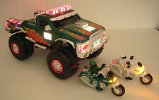 2007 Hess Monster Truck with 2 motorcycles & great lights & sounds-NIB