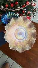 Wow Electic Pastel White Dugan Fanciful Carnival Glass Bowl