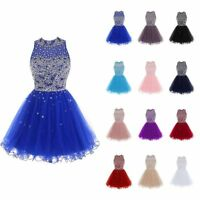 Short Women O-Neck Tulle Beading Homecoming Dress Formal Evening Prom Ball Gowns