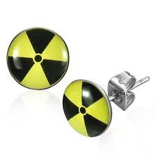 Pair 10mm Mens Black and Yellow Radioactive tri-foil Urban Symbol Stud Earrings