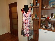 ODD MOLLY SILK MULTICOLORED TIE-DYED PLEATED EMPIRE LINE BOHO DRESS #608-SIZE 1