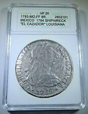 ANACS Graded 1783 El Cazador Shipwreck Silver 8 Reales Spanish 1700s Pirate Coin
