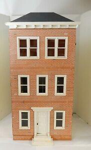 Vintage Brick Front 3 Story Townhouse Dollhouse Miniature 1:12