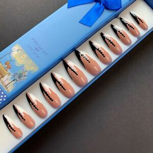 Hand Painted False Nails XL COFFIN or STILETTO - Black & White Fashion. French