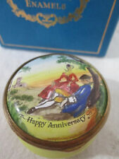 Halcyon Days Enamel Box ~ HAPPY ANNIVERSARY 1970s Bilston Battersea for CARTIER