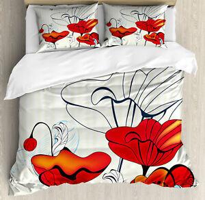 Coquelicot Rouge Noir Art Floral Double unique Couette Couette Oreiller Couverture Ensemble De Lit