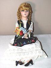 """Antique 25"""" Composition Doll Dutch Holland Scandinavian Costume Dress Braids"""