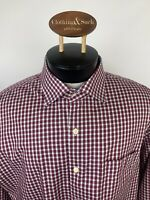 Peter Millar Collection Mens Sz XL Red Plaid Long Sleeve Dress Shirt Cotton
