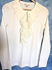 CAbi, Sweet Tee, White Lace/Sheer Ruffle V-Neck, Size Medium
