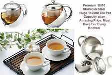 1100ml Stylish Stainless Steel & Glass Teapot w/ LOOSE TEA LEAF INFUSER TEA POT