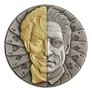 2021 Niue $5 Two-Face Mask Antiqued Gold Gilded 2 oz .999 Silver Coin - 500 Made