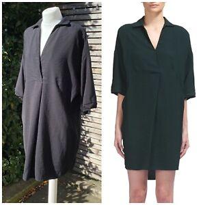 Whistles Size L UK 16 - 18 Black Lola Shirt Tunic Dress VGC Pockets