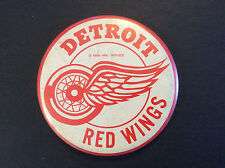 """Vintage 1968 Detroit Red Wings NHL Hockey Button 3 1/2"""" Original Pin Back"""