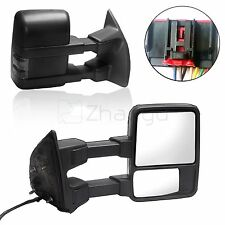 For 08-16 F-250 Side Mirror Power Heated Smoke Turn Signal Towing Mirrors Pair