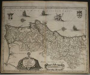 PORTUGAL 1646 MATTHÄUS MERIAN UNUSUAL ANTIQUE ORIGINAL COPPER ENGRAVED MAP