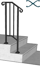 Iron X Handrail Picket #1 Railing Rail Fits 1 or 2 Steps