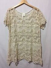 NWT Simply Irresistible Floral Crochet Lace Short Sleeve Top Beige Size X-Large