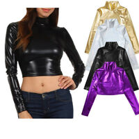 Womens Long Sleeve Shiny Sparkly Pullover Crop Shirt Tops Ladies Casual T-Shirt