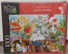 The Peony Tree GONE FISHING Kittens 1000 Piece Jigsaw Puzzle Jenny Newland Mega