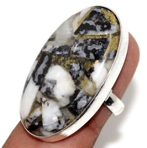 Copper White Buffalo Turquoise 925 Silver Plated Handmade Ring us 7 Jewelry GW