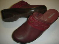 Clarks Marion Coreen Leather Braid Detail Wedge Clogs Womens Shoes 8 W Brown +