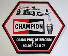 Aufkleber F1 Grand Prix Belgium ZOLDER 1978 CHAMPION Sticker Decal Autocollant