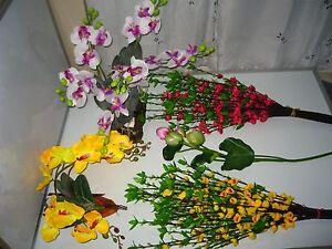 Plastic Artificial orchid, lotus, red (hoa dao), yellow (hoa mai) decor flower