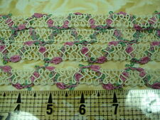 Sewing Craft Appliques TRIMS Ecru Berry Rose Green Woven Guimp