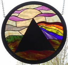 Pink Floyd Dark Side Round Stained Art Glass Handmade Artist Signed Window Panel