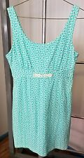 Skirtin Around Knit Dress Front Turquoise White Quatrefoil Print Sz 10 MSRP