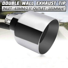 Weld On 2.5'' Inlet 4'' Outlet  Exhaust Muffler Tip Pipe Double Wall Round Slant