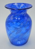 Cobalt Blue and White Swirled Art Glass Vase 5 1/4