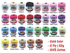 **15pcs 100% Cotton Ball Super Soft Crochet Yarn 3 Ply 50g Choose Color
