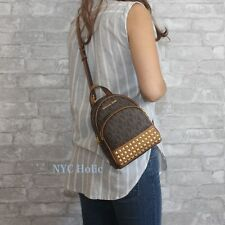 New Michael Kors Abbey Signature XSmall Studded Backpack Crossbody Brown NWT