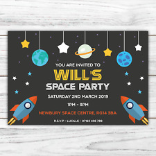 10 *PERSONALISED* invitations SPACE PARTY rocket planets BIRTHDAY invites