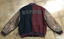 Tommy Hilfiger Varsity Jacket Mens Size Large Leather Sleeves Spell Out