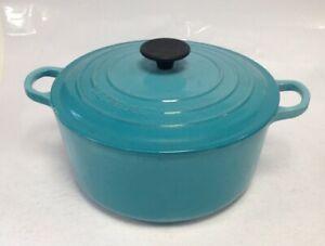 Le Creuset Cousances Turquoise Cast Iron Round 24cm Casserole Pot With Lid 55305