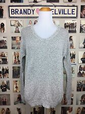 Brandy Melville Speckled Gray Light weight knit pullover V Neck sweater NWT